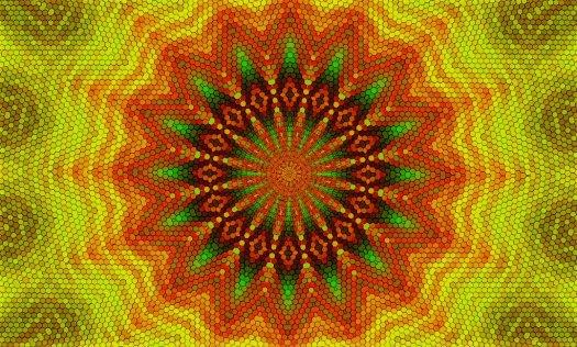 Jamaican hexagon mandala vibes