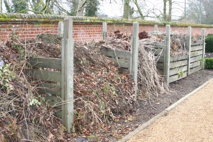 Compost bins in the walled garden