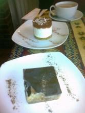 Tea, strawberry cheesecake and millionaire's shortbread...