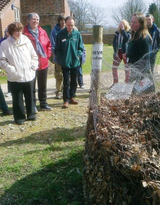 Jane Griffiths explains about Leaf mould to the group