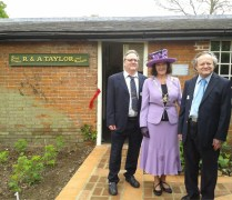 Chair of Norfolk County Council, Hilary Cox, with the Tatylor Brothers outside the new Seed Shop display . Picture: Breckland View