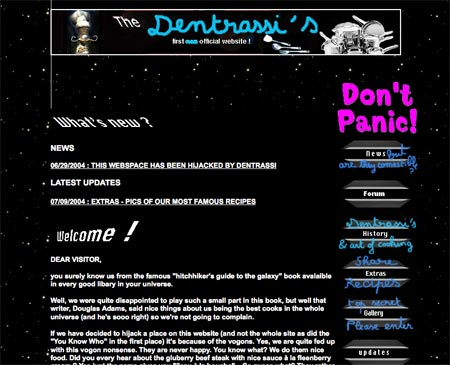 The Hitchhiker's unofficial movie website hijacked by the Dentrassis