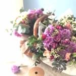春の花50本の花束を作りました