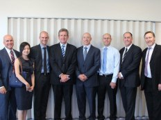 (L-R) Adrian Piccoli (Minister for Education NSW), Vivian Go (NBRS+PARTNERS), James Frost (GHD), Barry O'Farrell (Premier NSW), Cameron Lang (DEC), Chris Klein(GHD), Mike Kavanagh (GHD), and Garry Hoddinett (NBRS+PARTNERS)