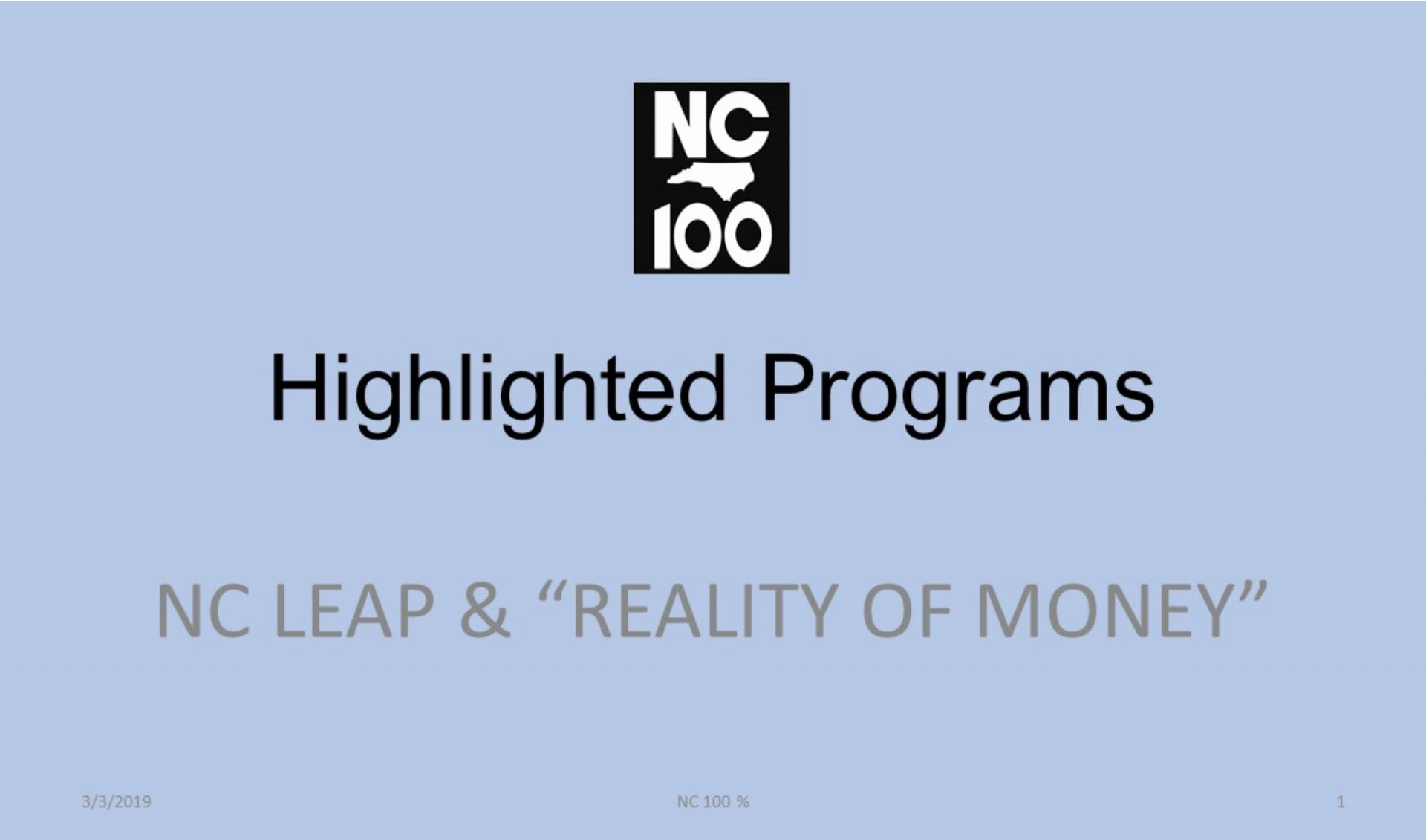 NC 100 highlighted programs