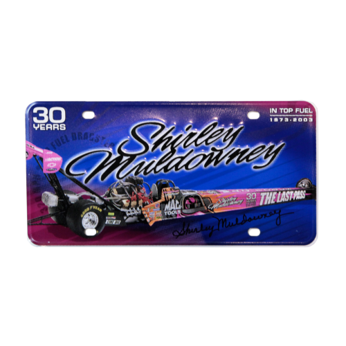 Shirley Muldowney Autographed License Plate