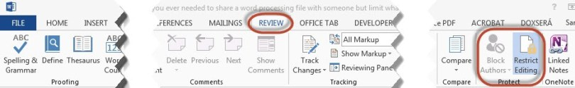 Restrict Editing in a MS Word document