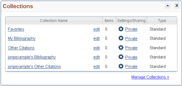 Figure 1. Your Collections list on your My NCBI landing page will list your colleague's Bibliography.