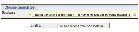 "Figure 2. Settings in the ""Choose Search Set"" section of the Targeted Loci BLAST form for searching the RefSeq fungal ITS sequences. Checking the Sequences for type material box further restricts the set to only sequences associated with type material or cultures."