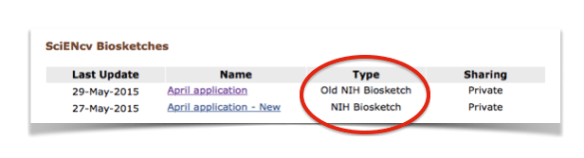 "Figure 2. SciENcv section showing NIH Biosketch type as either ""Old NIH Biosketch"" for the previous version, or as ""NIH Biosketch"" for the new, current version."
