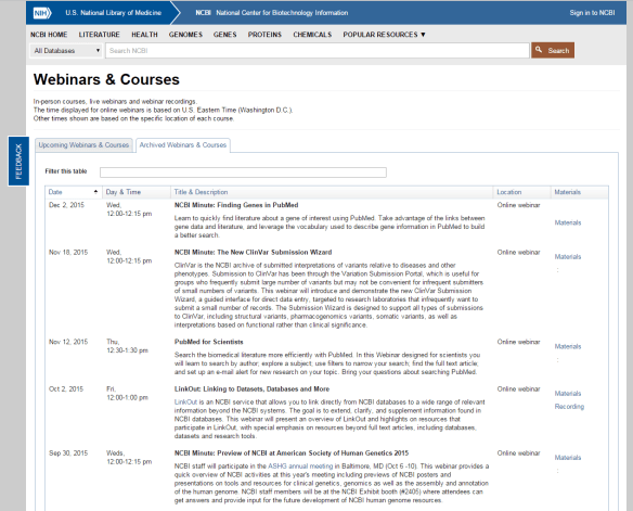 Archived Courses & Webinars tab on the Webinars & Courses page