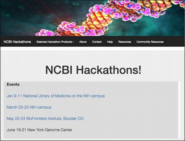 Six functional prototypes available from the March NCBI hackathon