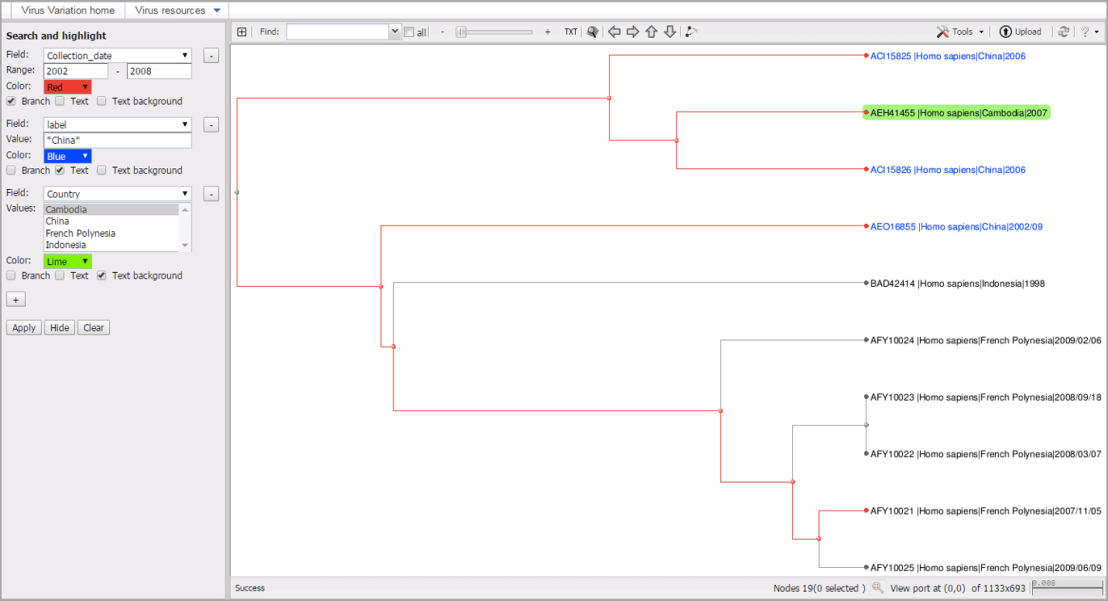 virus variation Tree viewer