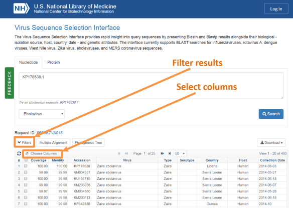 Figure 2. Virus Sequence Selection Interface results view