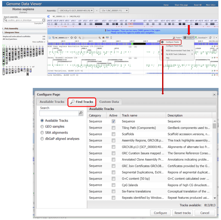 screenshot of genome data browser, showing 'Tracks' menu and 'Find Tracks' tab