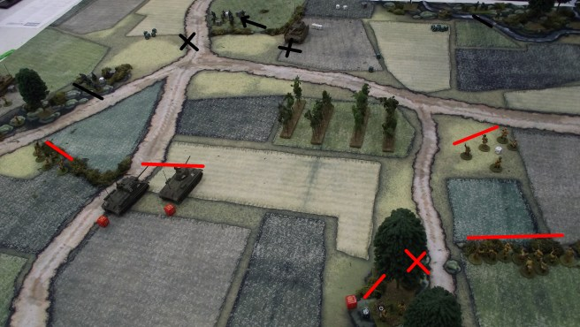 Mortars destroy each opposing side's heavy MG. A German tank is set on fire twice. The second time the crew bails.