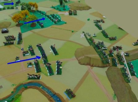 The Union guns destroy a Confederate battery while the Union infantry advances.