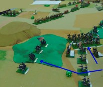 Union cavalry and infantry gradually push back the Confederate right wing.