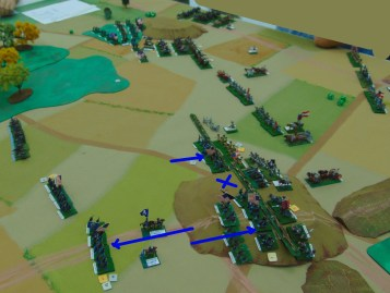 A Union regiment is broken by canister fire and another retreats. The second Union line charges in.
