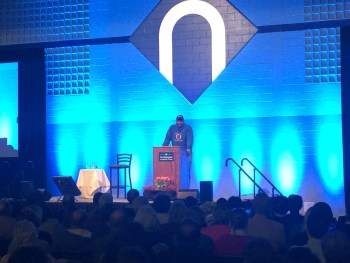 Will Allen addressing NCC students an faculty. Photo courtesy Zachary Catanzareti.