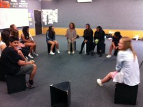 The performance group rehearsing