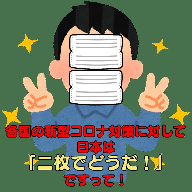 各国の新型コロナ対策に対して日本は「二枚でどうだ!」ですって!