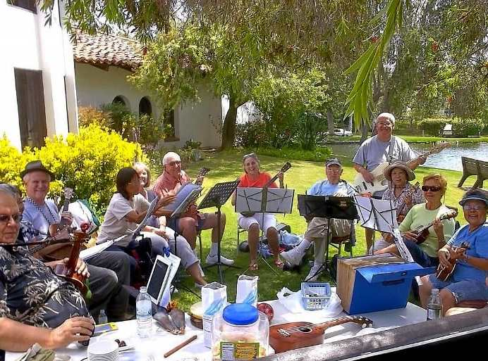 UFO Ukulele Friends Ohana, an informal gathering of aloha spirited musicians led by Courtney Gonzalez and Scott Linder will be playing at the Oceanside Public Library