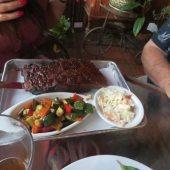 St. Louis Pork Spareribs with seasonal vegetables and coleslaw