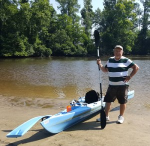 image shows Casey Turton Kayaking along the Tar River in Eastern North Carolina. Favorite sport.