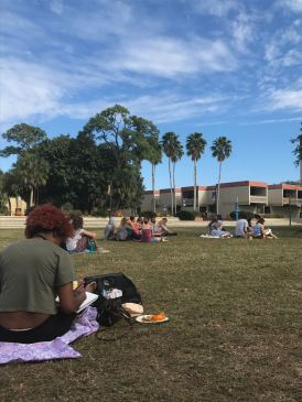 Students enjoyed a lazy Sunday on Z Green.