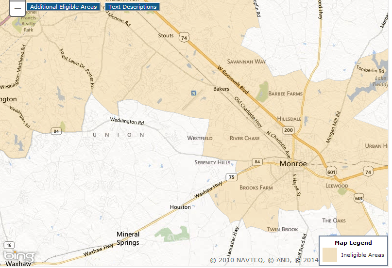 USDA Loans Charlotte NC; The USDA Home Loan Maps for Charlotte NC