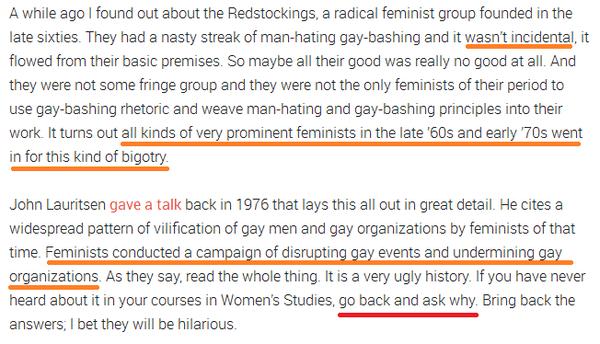 Feminist Hate of Gay Men 1