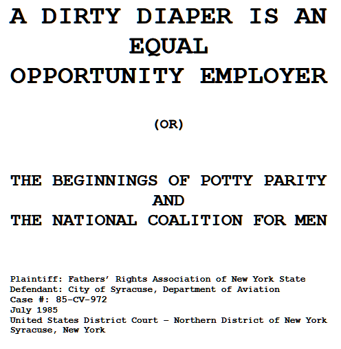 NCFM Adviser Francis Baumli, A Dirty Diaper is an Equal Opportunity Employer [or] The Beginnings of Potty Parity and the National Coalition For Men