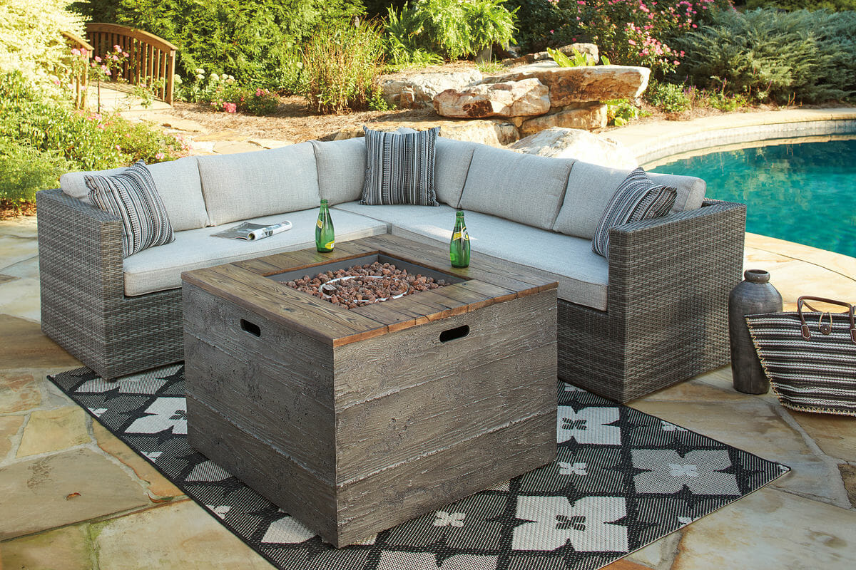 peckham park beige brown sectional with fire pit