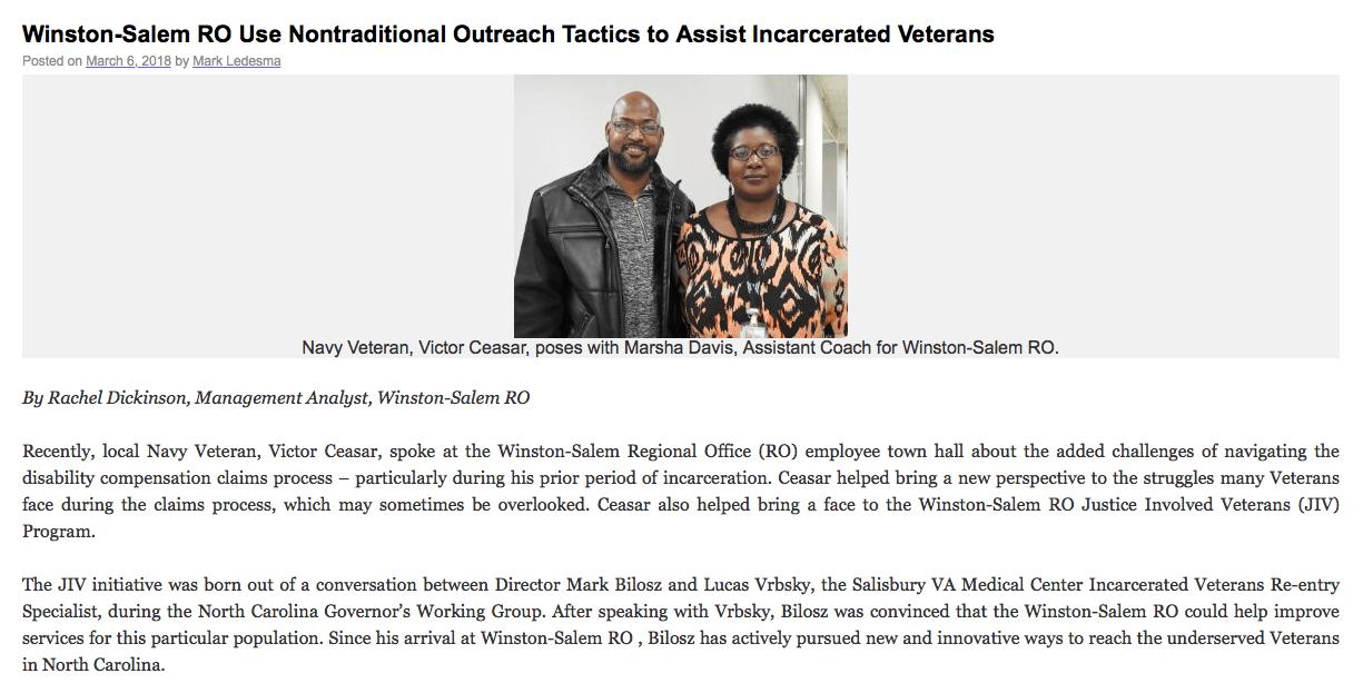 Justice-Involved Veterans Program of the Winston-Salem Regional Office (RO)