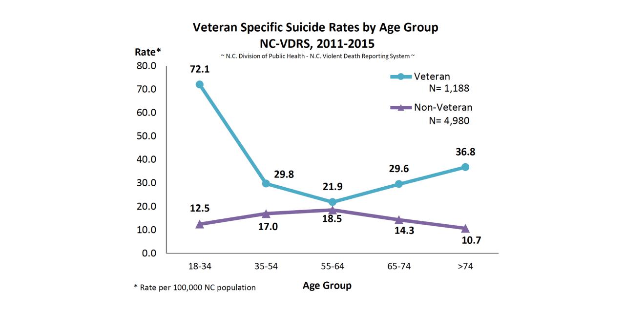 Veteran Suicides in NC in 2011-2015