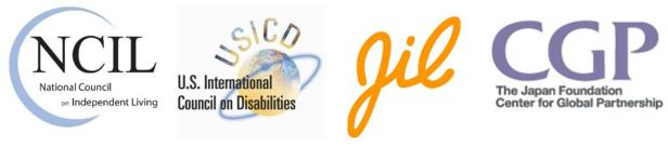 Logos - 1. NCIL: National Council on Independent Living 2. USICD: US International Council on Disabilities 3. JIL 4. CGP: The Japan Foundation Center for Global Partnership