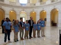 Team Purple with Congressman McIntyre's Legislative Aide Erin Simpson in the Rotunda of the Canon Building