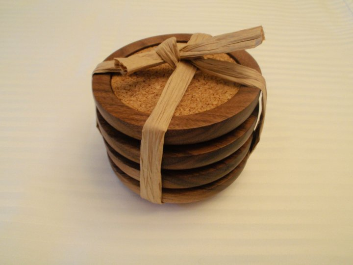 Walnut coasters stacked