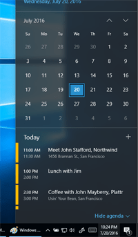 Windows 10 Taskbar Calendar