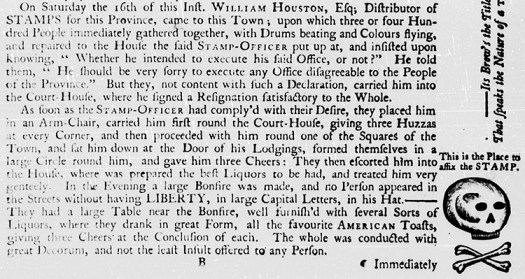 """Wilmington, Nov. 20."" North Carolina Gazette. November 20, 1765. 1."