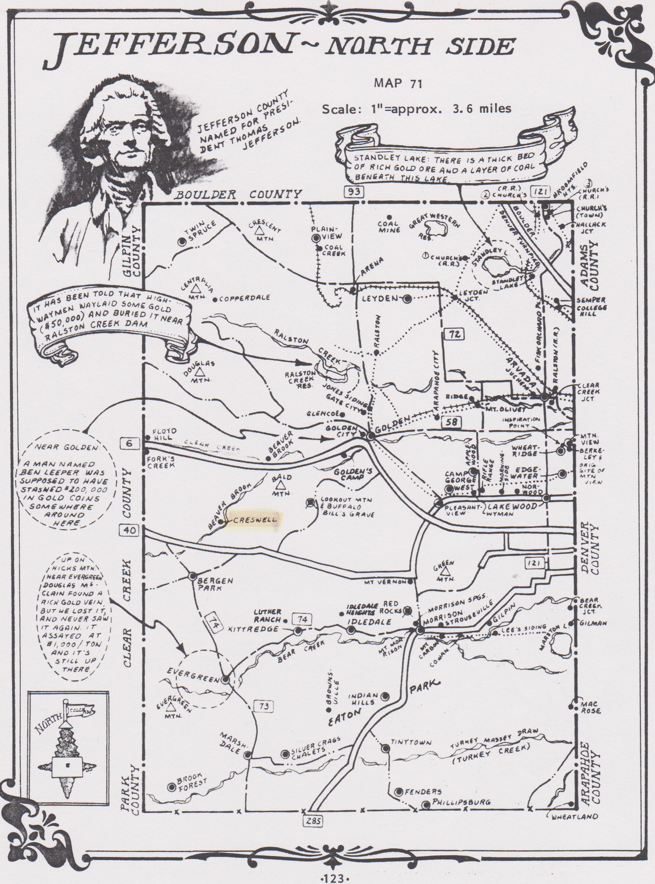 Baker, Mattie, Jefferson County, CO 1887 map