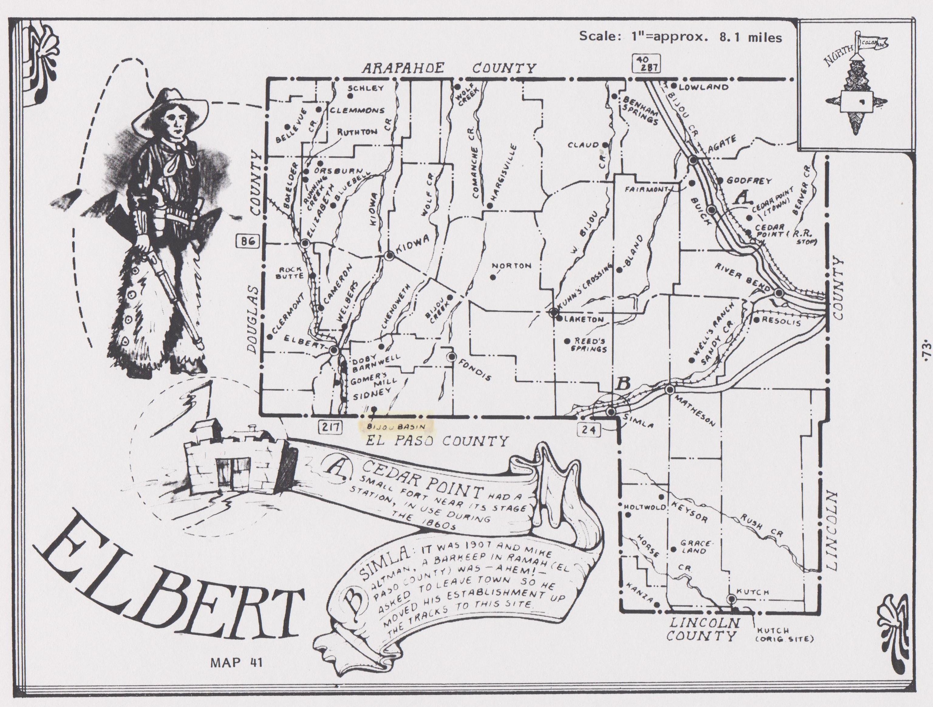Newton, John Dallas, Elbert County, CO 1887 map