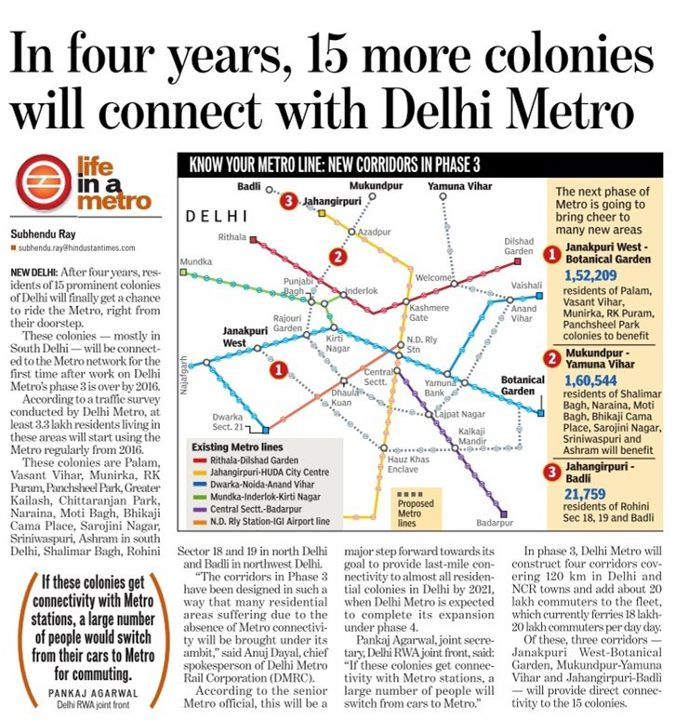 delhi metro phase 1 The total existing network of phase-i and phase-ii is 19003 km (including the national capital region) new delhi: the total operational span of the delhi metro network will expand to over 350 km after completion of its phase-iii project, which would also enhance the daily average ridership of the .