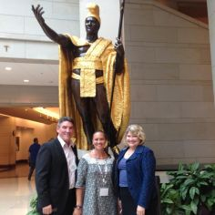 Our Hawaiian colleagues pose with statue of King Kamehameha I at the US Capitol building during the 2015 Washington Symposium.