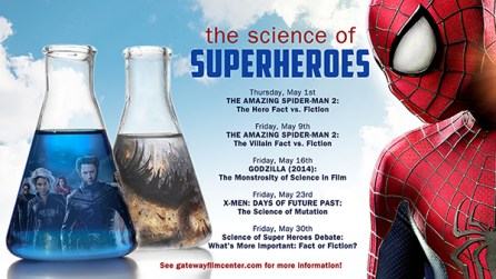 FIGURE 1. Advertisement from the GFC promoting  Science of Superheroes discussions.