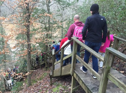 Climbing down to the river at Raven Rock State Park.