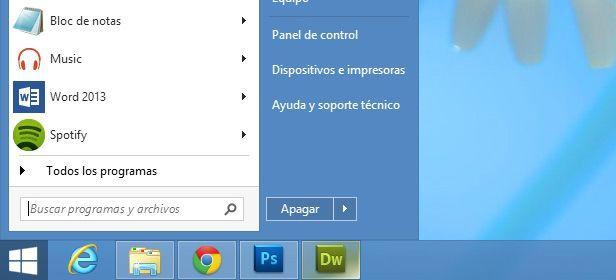 Botón de inicio en Windows 8