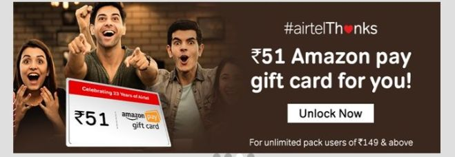My Airtel App - Get Rs.51 Amazon Gift Card For Unlimited Pack Users