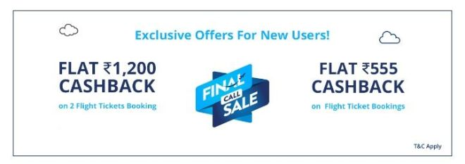 Paytm Flight Offer For New Users- Get Rs.1200 + 555 Cashback On Flight Ticket Booking (No Minimum Order Value)